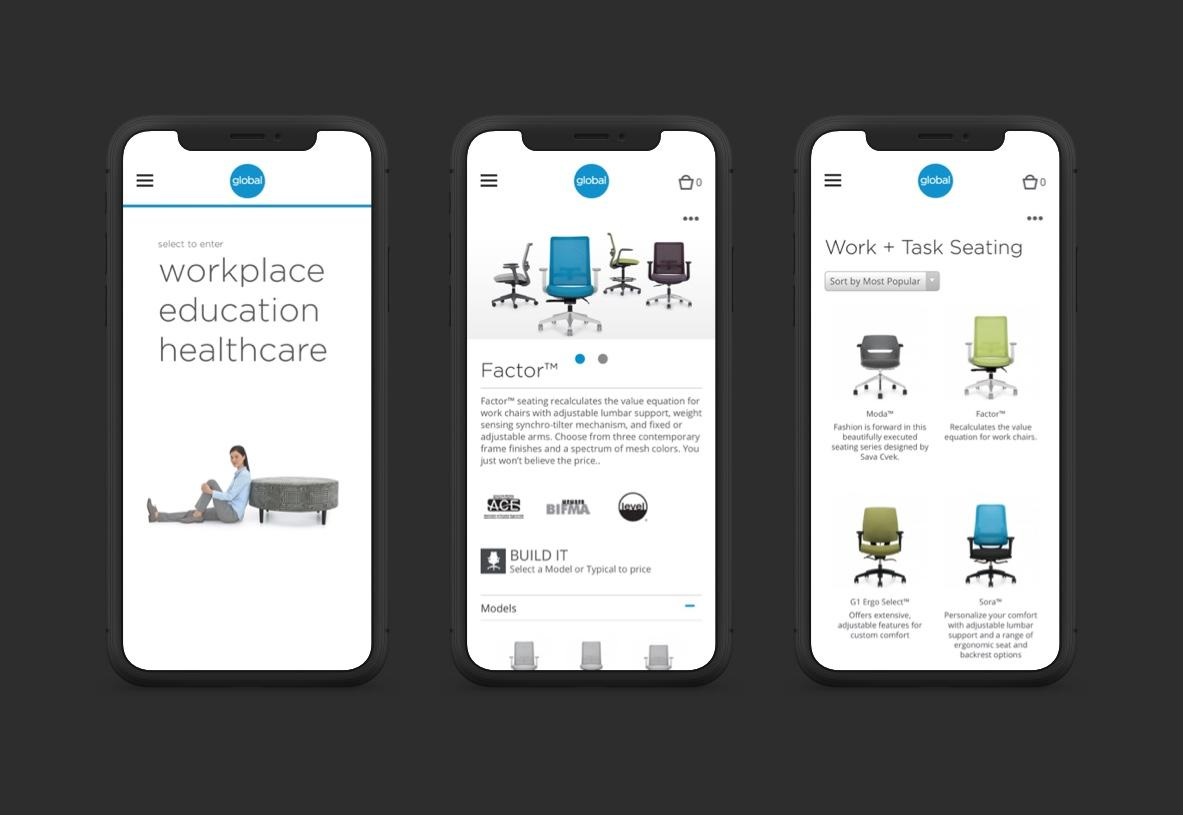 mobile view of Global Furniture Group site