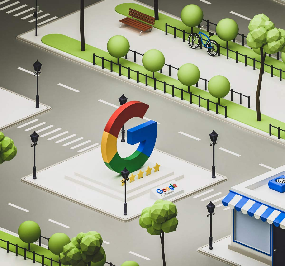 Illustration showing Google My Business service
